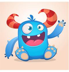 happy cute cartoon monster halloween vector image