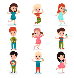happy kids eating ice cream set of cartoon vector image