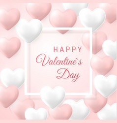 happy valentines day background flying pink and vector image