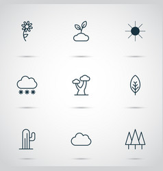 Harmony icons set with overcast foliage sprout vector