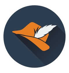 Icon of hunter hat with feather vector