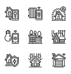 intelligent building icon set outline style vector image