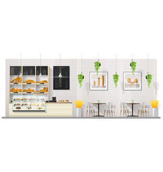Interior scene of modern bakery shop vector