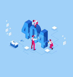 Isometric error 404 page layout design vector