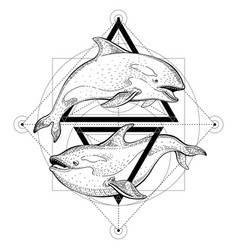 Killer whale orca tattoo geometric vector