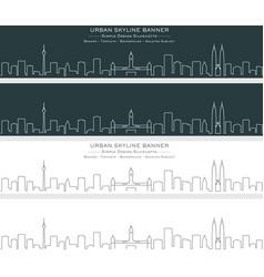 Kuala lumpur single line skyline banner vector