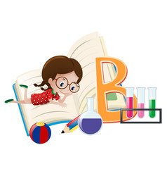 letter b and little girl vector image