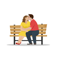 loving couple kissing on a wooden bench flat vector image