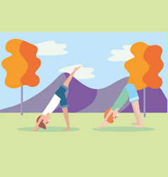 man and woman practice yoga position vector image