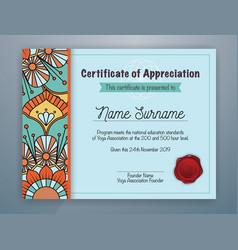 Mandala bordered certificate of appreciation vector