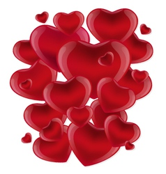 Many red hearts on a white background vector image