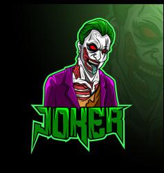 Mascot joker esport logo design vector
