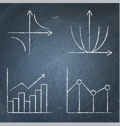 Math science icons set in line style on chalkboard vector