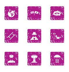 Mindset icons set grunge style vector