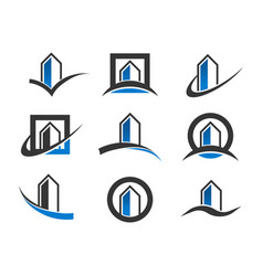 modern building icons vector image