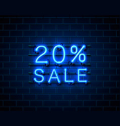 neon 20 sale text banner night sign vector image