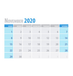 november calendar planner 2020 in clean minimal vector image