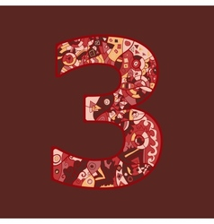 number three vector image
