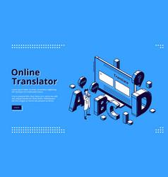 online translator service isometric landing page vector image