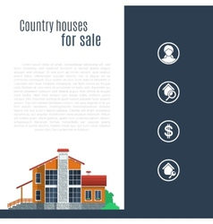 Orange country house in flat style vector image