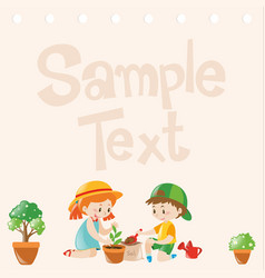 Paper design with kids planting trees vector