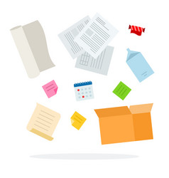 Paper trash for sorting flat isolated vector