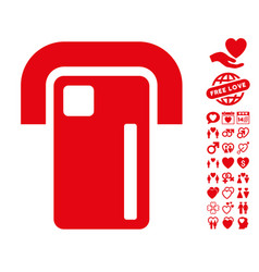Payment terminal icon with love bonus vector