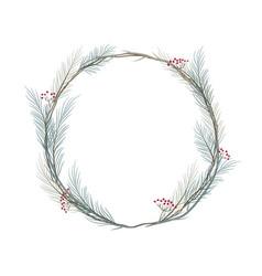 pine branch wreath frame vector image
