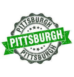 Pittsburgh round ribbon seal vector