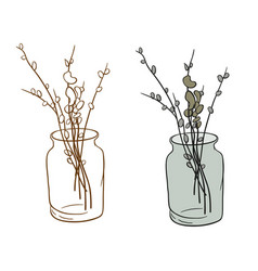 Pussy-willow in bank vector