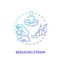 Reducing strain blue gradient concept icon vector
