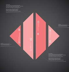 Rhombus template consists of fourred parts on dark vector