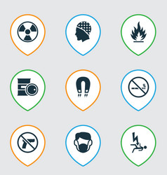 Safety icons set with no smoking flammable vector