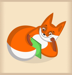 satisfied fox lying and looking at tablet vector image