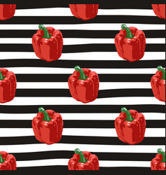 Seamless summer pattern with peppers on black vector