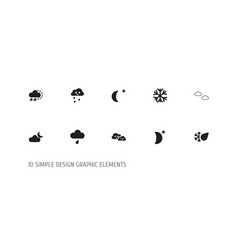 set of 10 editable weather icons includes symbols vector image