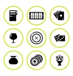set round icons casino vector image