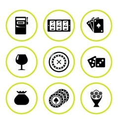 Set round icons of casino vector image