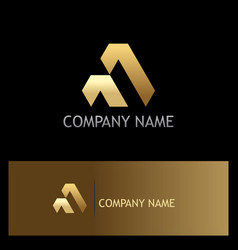 shape triangle gold business logo vector image
