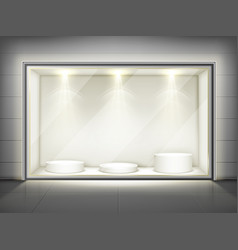 showcase with glass wall and round podiums vector image