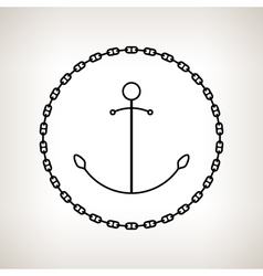 Silhouette anchor and chain on a light background vector