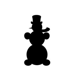 silhouette christmas snowman symbol happy new vector image