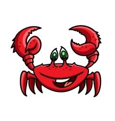 Smiling cartoon ocean red crab character vector image