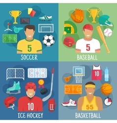 Soccer baseball hockey and basketball symbols vector image