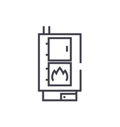 solid fuel boiler line icon sign vector image