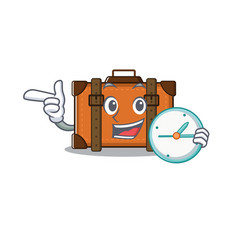 Suitcase with bring clock in cartoon with vector