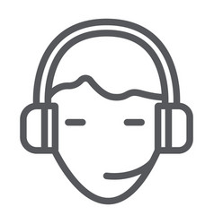 Support line icon service and assistance headset vector