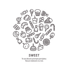 Sweet desserts thin line icons - candies round vector