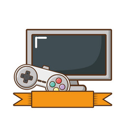 television screen and video game control vector image