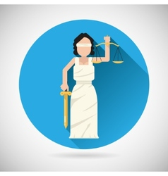 Themis Femida character with scales and sword icon vector image
